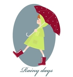 Cute girl with umbrella in rainy season vector image vector image