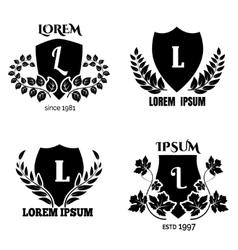 Heraldic laurel shields collection vector image