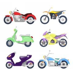 Motorcycles Icons Set with Retro Sport Bike vector image