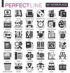 my workspace workspace black mini concept icons vector image vector image