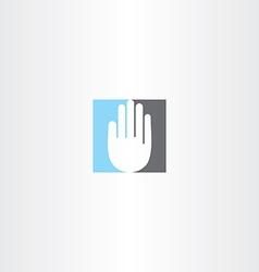 Blue black human hand icon logo vector