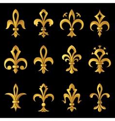 Fleur-de-lis golden set vector image vector image