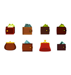 wallet icon set flat style vector image