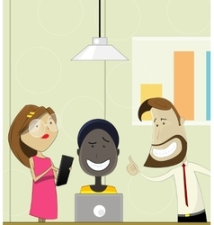 Creative cartoon people working in office vector image vector image