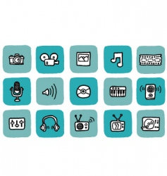 doodle icon set media vector image