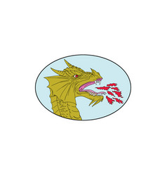 dragon head breathing fire oval drawing vector image vector image