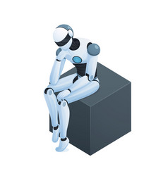 robot thinking on cube isometric composition vector image vector image