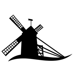silhouette of windmill vector image