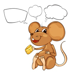 A rat holding a cheese with empty callouts vector image vector image