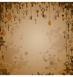 Abstract vintage background with antique keys vector image