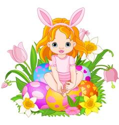baby girl sitting on easter eggs vector image