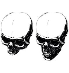 Cool graphic detailed human skulls set vector image