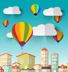 Hot Air Balloons on Blue Sky and City vector image vector image