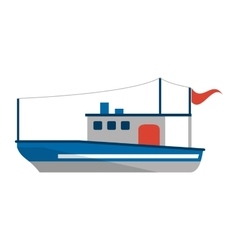 Isolated fishing boat ship design vector image vector image