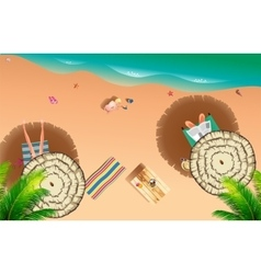 Realistic summer beach of sea side vector image vector image