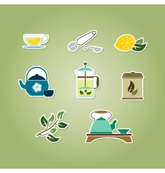 set with tea ceremony and accessories icons vector image
