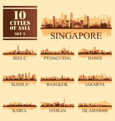 10 asian cities set of vector