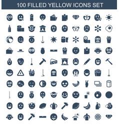 100 yellow icons vector