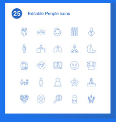 25 people icons vector image