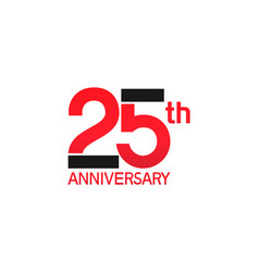 25 years anniversary logotype with black and red vector