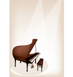 A Retro Grand Piano on Brown Stage Background vector