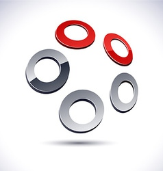 Abstract 3d rings icon vector