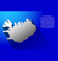 abstract map of iceland with long shadow on blue vector image