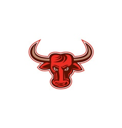 Angry Bull Head Front Retro vector