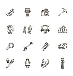 Archaeology signs black thin line icon set vector