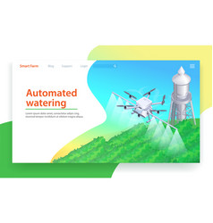 Automated watering drone irrigation isometric vector