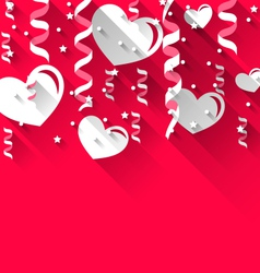 Background for Valentines Day with paper hearts vector image vector image
