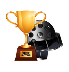 Best actor gold trophy cup award reel film movie vector