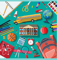 big school set school supplies stationery vector image