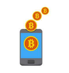 Bitcoin mobile mining transfer graphic vector