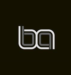 Black and white line ba b a letter logo alphabet vector