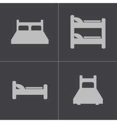 black bed icons set vector image