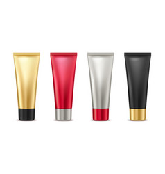 Blank mock up gold red silver and black tube for vector