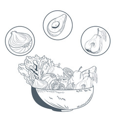 bowl with vegetables and fruits hand draw vector image