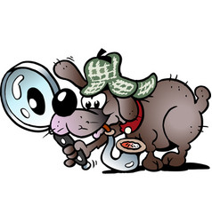 Cartoon a a clever and cunning detective dog vector