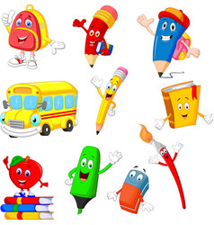 cartoon school supplies collection set vector image