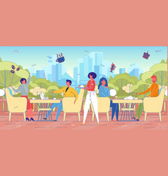 cityscape background with people in street cafe vector image