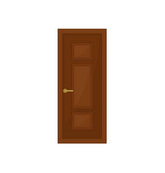 classic brown door on white background vector image