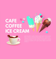 coffee and ice cream cafe ad design template vector image