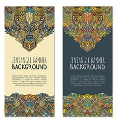Colored hand drawn entangle banner templates vector