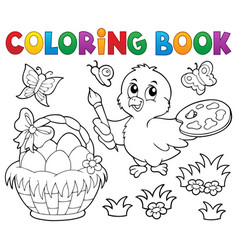 coloring book easter theme with chicken vector image