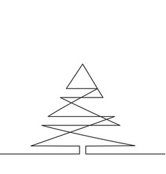 continuous one line drawing christmas tree vector image