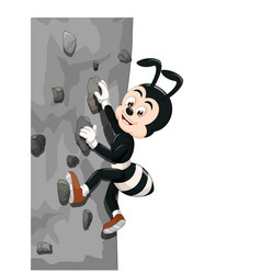 cool black ant wearing brown shoes climbing a wall vector image