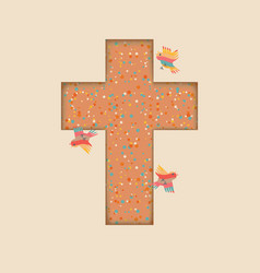 cute easter design cross with colored birds vector image