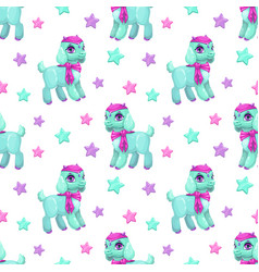 Cute girlish seamless pattern with pretty little vector