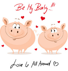 Cute pig in love - valentines day vector